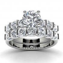 14k White Gold Diamond Wedding Set Top View