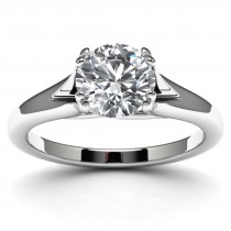 14k White Gold Solitaire Engagement Ring Top View