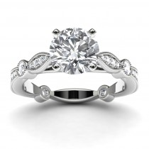 14k White Gold Victorian Diamond Engagement Ring