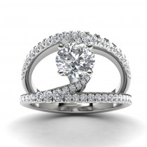 14k White Gold Split Shank Diamond Engagement Ring Top View