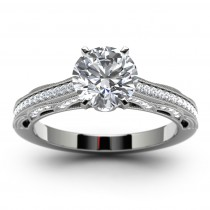 14k White Gold Round Diamond Pave Engagement Ring Top View