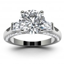 14k White Gold Three Stone Channel Set Engagement Ring Top View