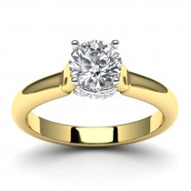 14k Two Tone Diamond Engagement Ring Top View