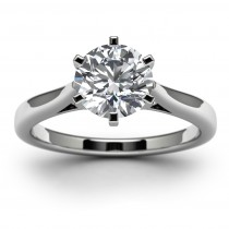 14k White Gold Round Diamond Wedding Ring Top View