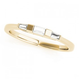 14k Yellow Gold Three Stone Baguette Wedding Band