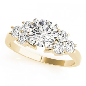 14k Yellow Gold Side Stone Engagement Ring