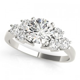 14k White Gold Side Stone Engagement Ring