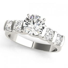 14k White Gold Single Row Prong Diamond Semi-Mount Ring