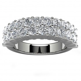 14k White Gold Side Stone Wedding Band