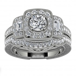 14k White Gold Three Stone Halo Diamond Engagement Set