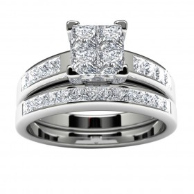14k White Gold Princess Diamond Engagement Set
