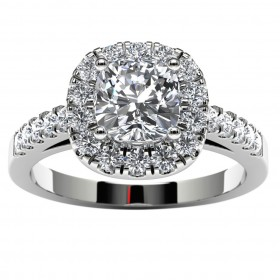 14k White Gold Halo Cushion Engagement Ring