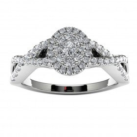 10k White Gold Diamond Halo Infinity Engagement Ring