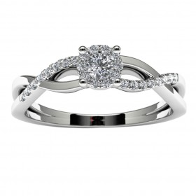 14k White Gold Diamond Halo Infinity Engagement Ring
