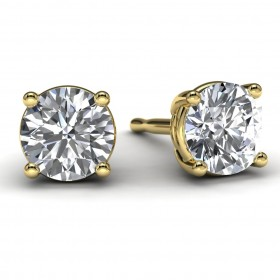 Yellow Gold 3/4 TDW Diamond Solitaire Earrings