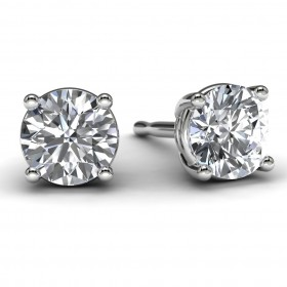 White Gold 3/4 TDW Diamond Solitaire Earrings