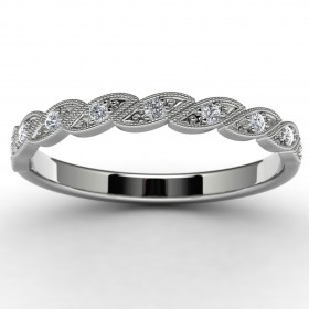 10k White Gold Side Stone Wedding Ring