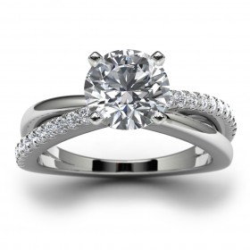 14k White Gold Side Stone Wedding Ring