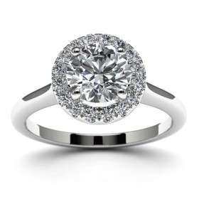 14k White Gold Halo Diamond Wedding Ring