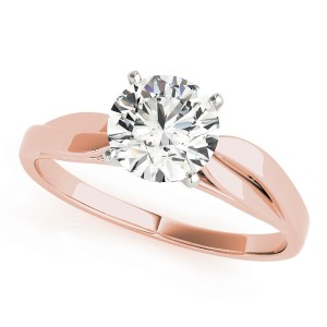 14k Rose Gold Solitaire Semi-Mount Top View