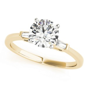 14k Yellow Gold Three Stone Baguette Semi-Mount Top View