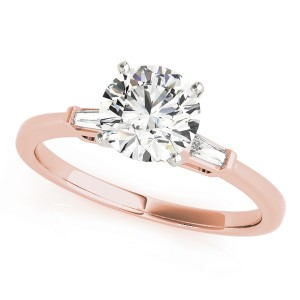 14k Rose Gold Three Stone Baguette Semi-Mount Top View