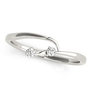 14k White Gold Twisted Wedding Band Top View