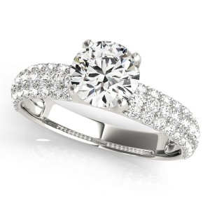 14k White Gold Pave Engagement Ring Top View