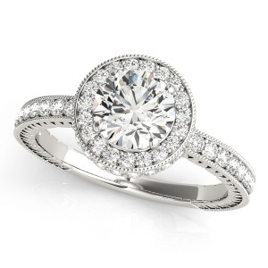 14k White Gold Diamond Channel Set Engagement Ring Top View