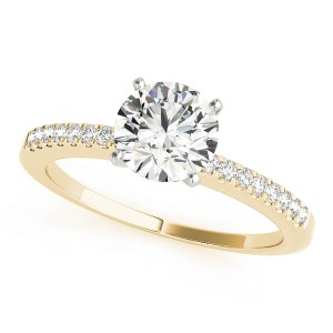 14k Yellow Gold Single Row Prong Set Engagement Ring Top View