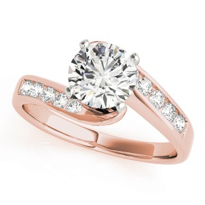 14k Rose Gold Bypass Diamond Engagement Ring Top View