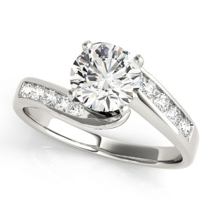 14k White Gold Bypass Diamond Engagement Ring Top View