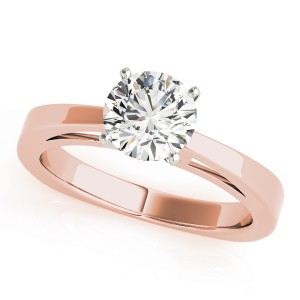 14k Rose Gold Solitaire Diamond Engagement Ring Top View