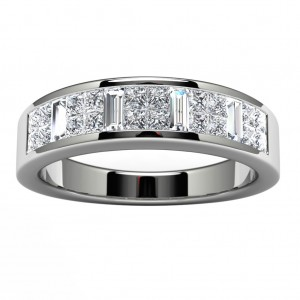 14k White Gold Pave Wedding Band Top View