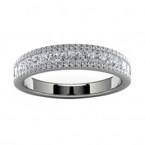 18k White Gold Pave Wedding Band Top View