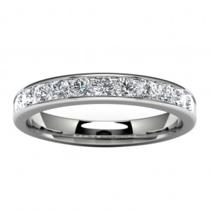 14k White Gold Channel Set Wedding Band