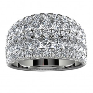 18k White Gold Side Stone Wedding Band Top View