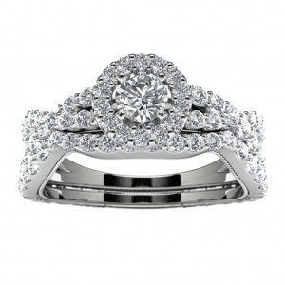 14k White Gold Diamond Infinity Halo Engagement Set Top View