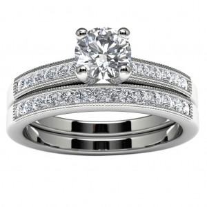 14k White Gold Diamond Engagement Set Top View