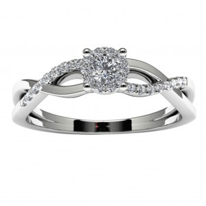 14k White Gold Diamond Halo Infinity Engagement Ring Top View