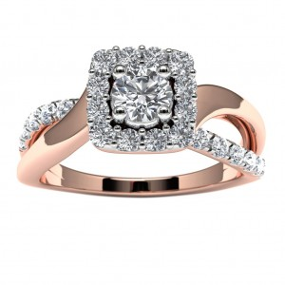 14k Rose Gold Diamond Engagement Ring Top View