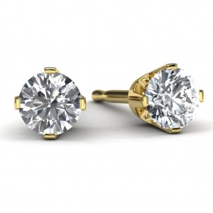 1/3 TDW Yellow Gold Diamond Solitaire Earrings Front View
