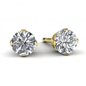 14k Yellow Gold Diamond Solitaire Earrings Front View