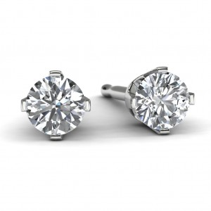 14k White Gold Diamond Solitaire Earrings Front View