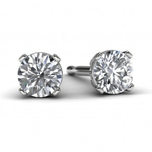 White Gold Diamond Solitaire Earrings Front View
