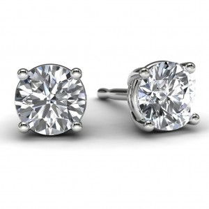 White Gold 3/4 TDW Diamond Solitaire Earrings Front View