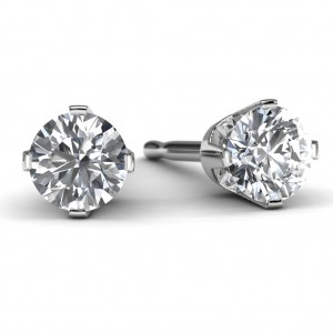 1/3 TDW White Gold Solitaire Diamond Earrings Front View