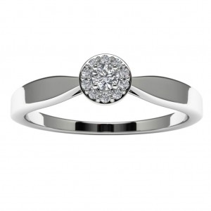 10k White Gold Diamond Halo Engagement Ring Top View