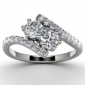14k White Gold Diamond Engagement Ring Top View