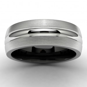 White and Black Tungsten Wedding Band Top View